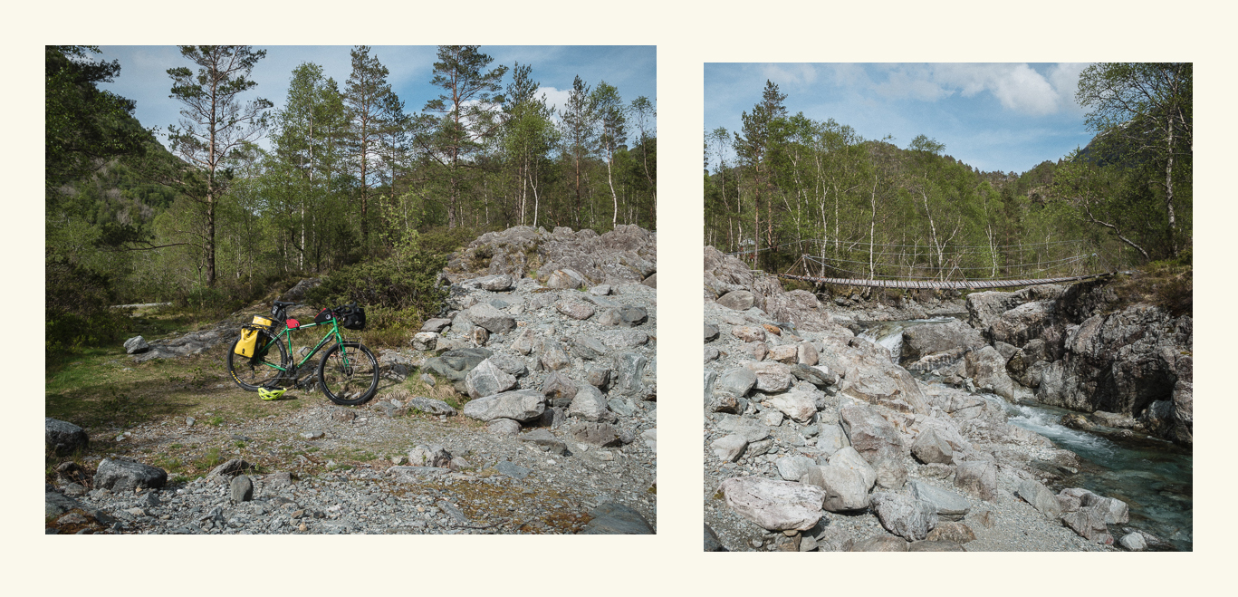 touring bike next to a river, diptych
