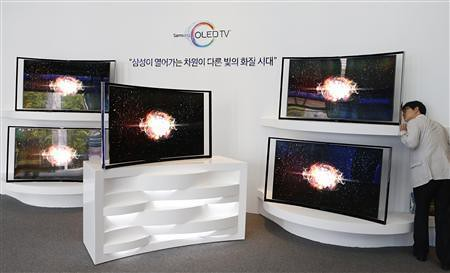 OLED TV Samsung ultra thin surfaces only $ 13,000 first curved, super-thin OLED television set displayed at the main Office of the company in Seoul