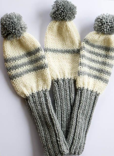 Golf club cover set | Hand knitted golf club cover, aran ...