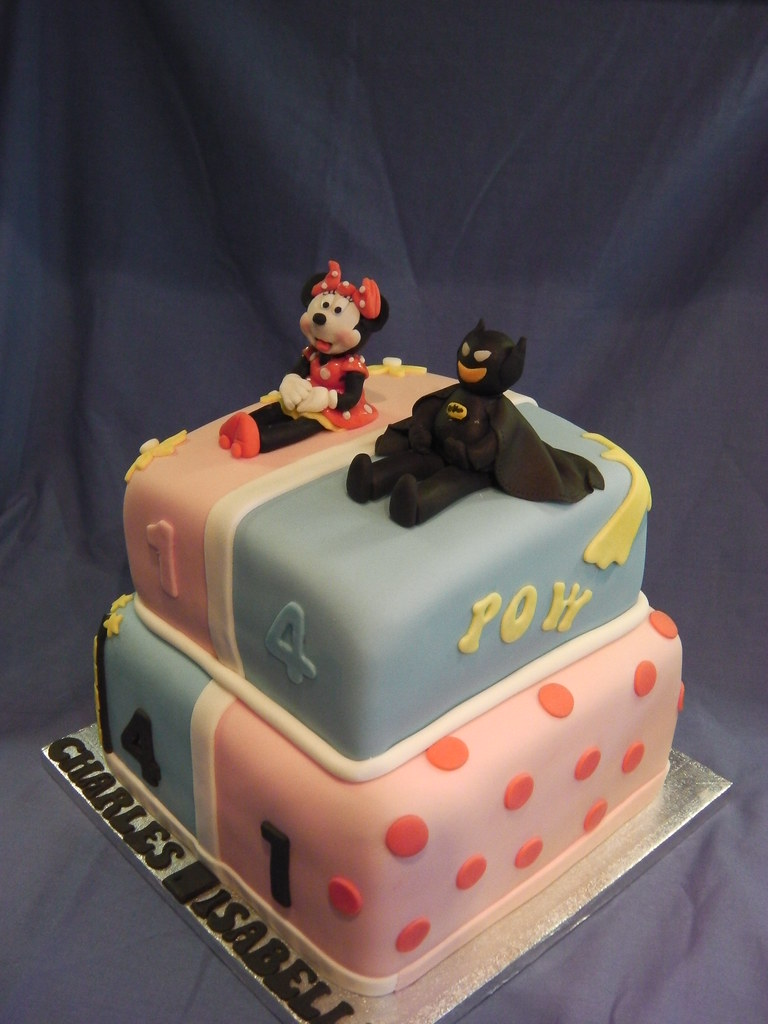 Minnie Mouse Amp Batman Joint 2 Tier Birthday Cake Mandy S