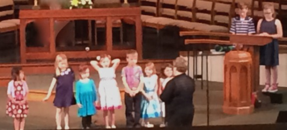 Children in worship, the Cherub Choir doing the response to Psalm 8