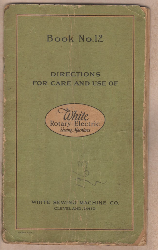 Book Cover Sewing Machine ~ White rotary electric book no front cover