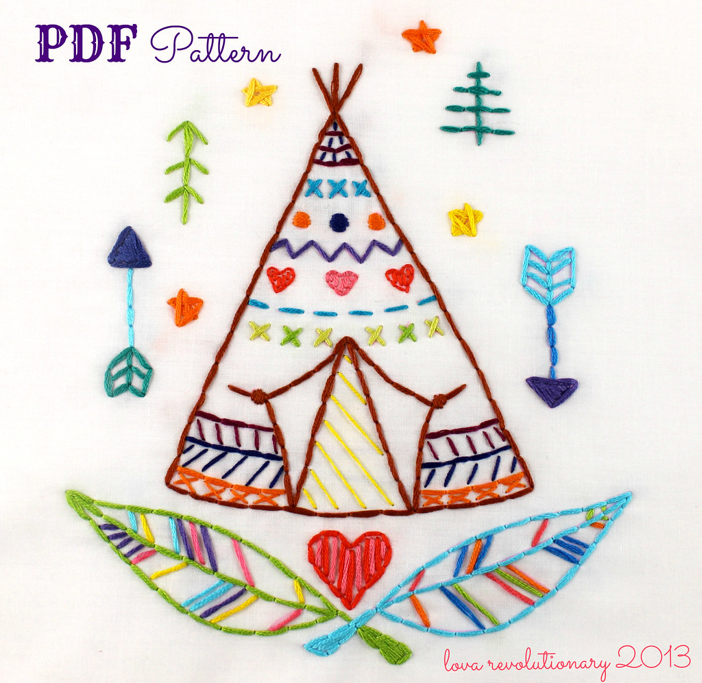 western teepee hand embroidery pdf pattern new on etsy