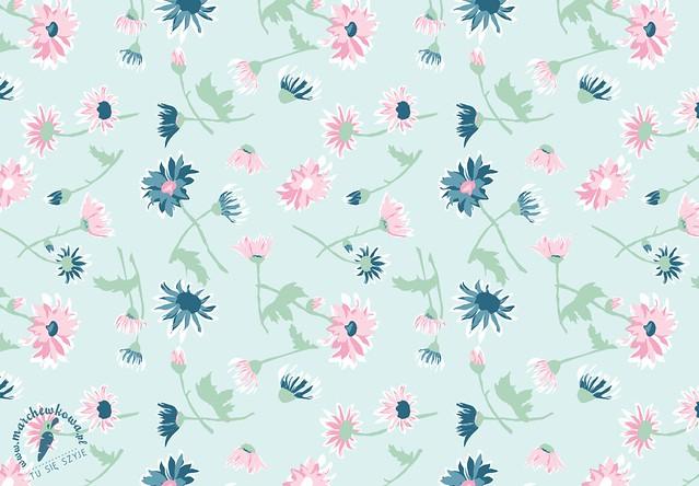 marchewkowa, grafika, nadruk, projekt tkaniny, wzór, print, pastelowe kwiaty, Pastel flowers