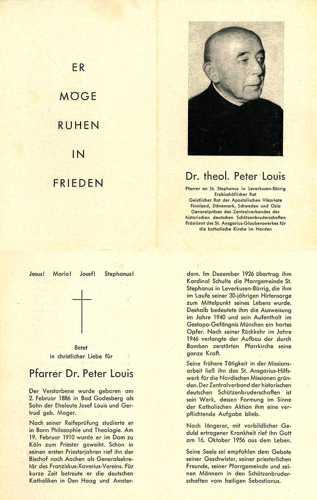 Totenzettel Louis, Pater Peter † 16.10.1956