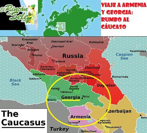 Mapa de Armenia y Georgia en el Cáucaso