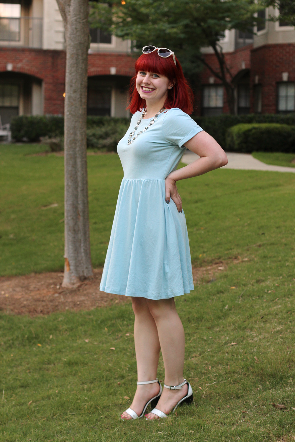 light blue tobi skater dress forever 21 white block heels outfit
