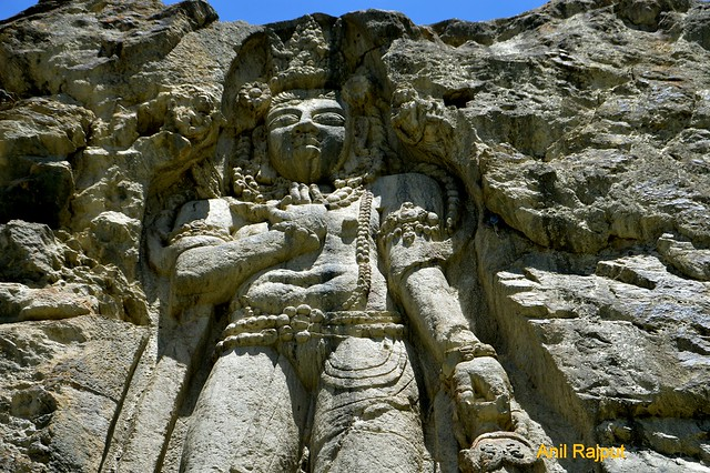 Lord Buddha's rock cut statue at Karchekhar village Kargil