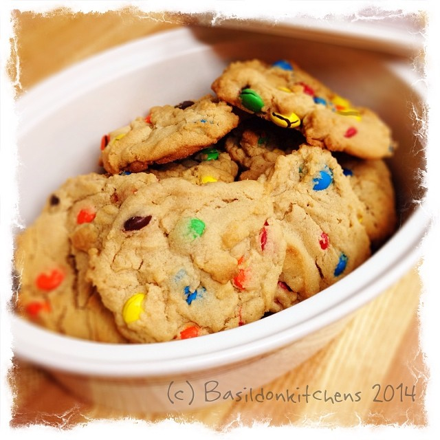 3/2/2014 - leftovers {I don't know how it happened, but there are some cookies leftover from the weekend} mmmmmm - peanut butter M & M #photoaday #leftover #cookies #homemade #baking #peanutbutter #m&m