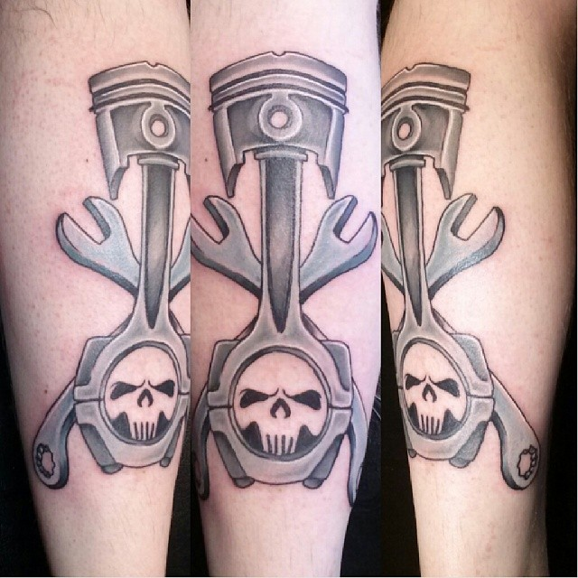 Fun piston and wrenches start of a leg sleeve tattoo pi for Piston and wrench tattoo