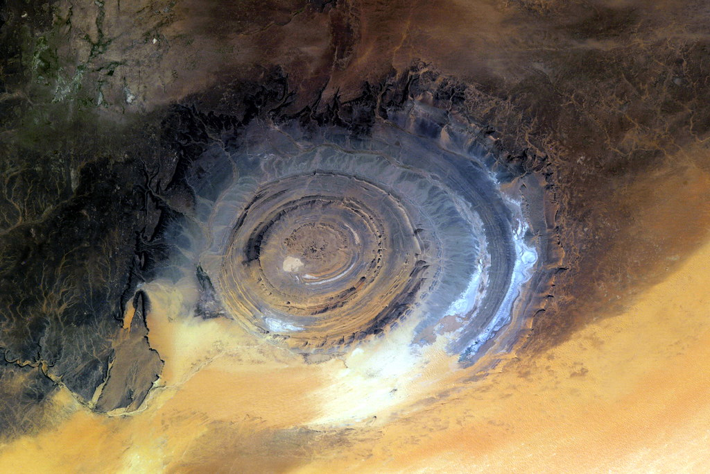 "Surreal geological formation called ""Eye of the Sahara"" in Mauritania. "" Richat Structure"""