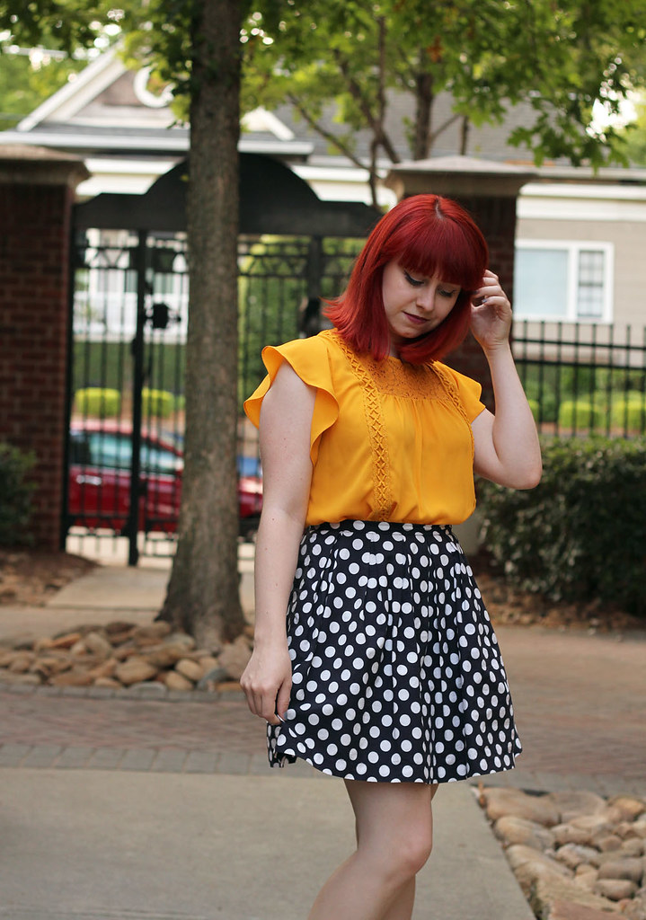 Bright Red Hair Mustard Yellow Target Blouse Navy Polka Dot Skirt