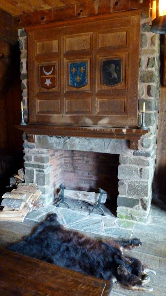 Bear Skin Rug And Fireplace Fur rug and fir...