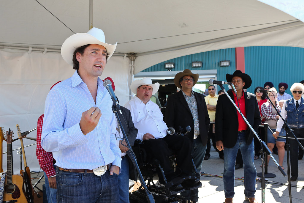 Justin Trudeau Chatting With Canadians At The Calgary Stam