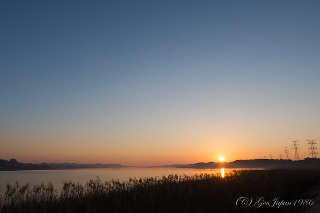 手賀沼 初日の出/Sunrise Scene from Teganuma on New Year's Day