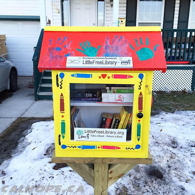 Sunday: last little free library I visited this weekend, this one on the northeast side of Calgary in Martindale. Dropped off some of my late Uncle's books here as well. When my Uncle Cal passed away I inherited his collection of books. My Uncle was a vor