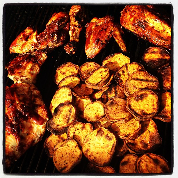 BBQ chicken & sweet potato chips on the grill! #food #funning # ...
