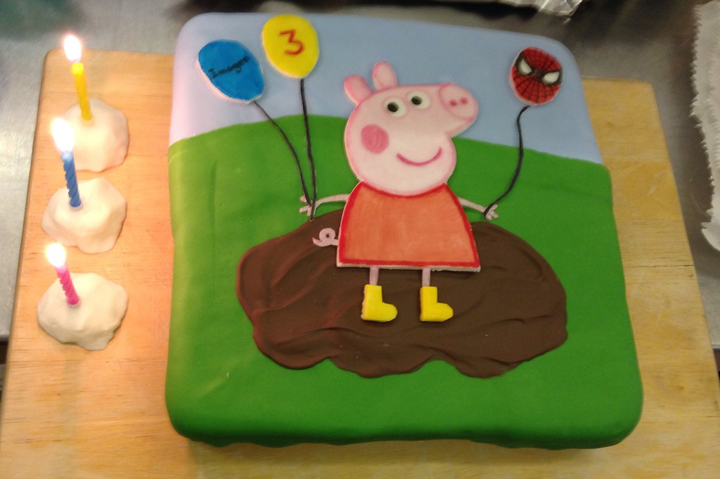 Birthday Cake Peppa Pig Holding A Spider Man Balloon As