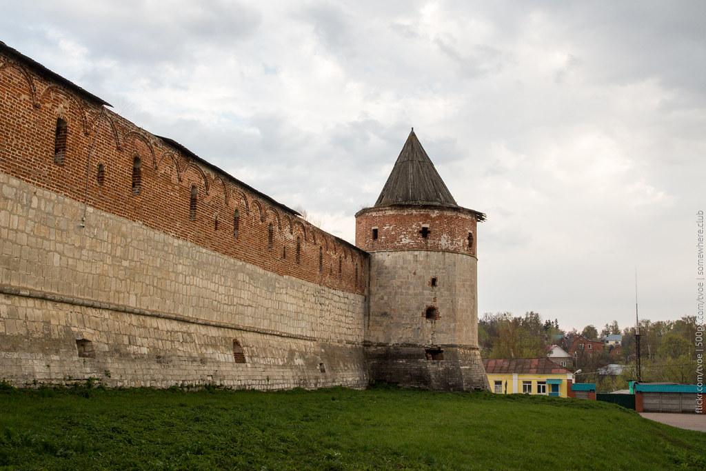 Вид на Зарайск и стену кремля