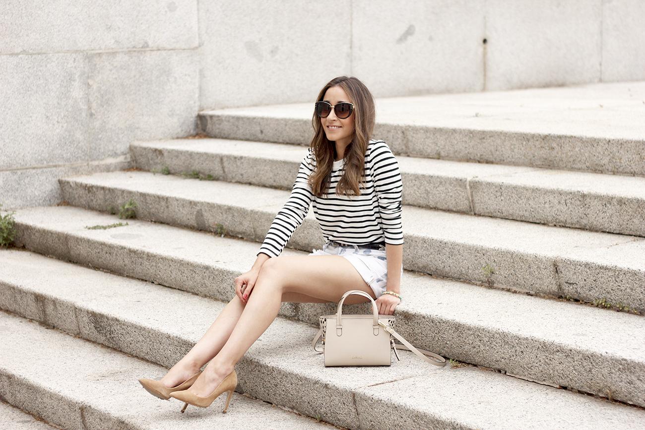 Stripes and denim shorts nude heels acosta bag sunnies belt summer outfit03