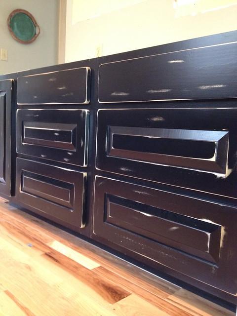 Distressed kitchen cabinets, black milk paint  Flickr  Photo Sharing