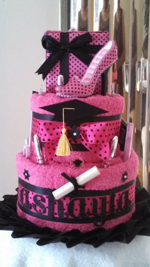 Graduation Towel Cake Fuschia Black Sherlene Flickr