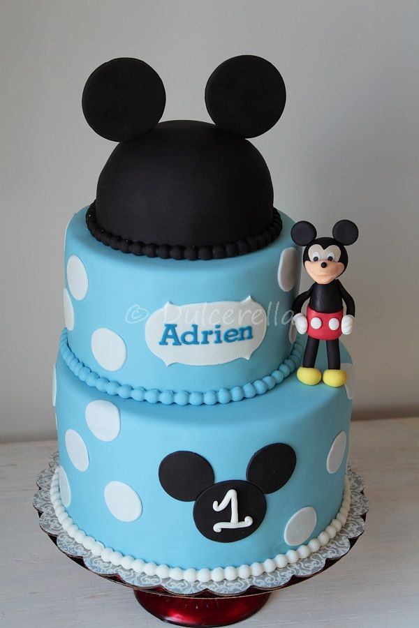Mickey Mouse With Blue Polka Dots Cake Mihaela Lecedre