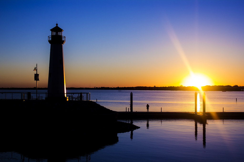 lighthouse beautiful sunset at the harbor in rockwall