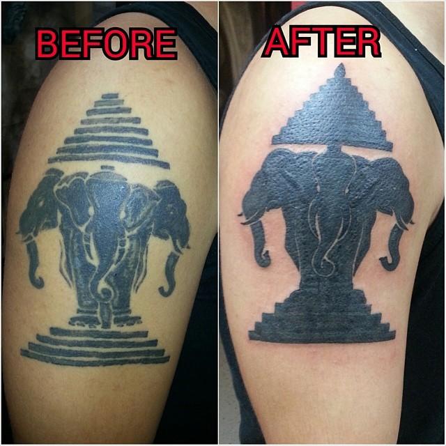 Laotian Writing Tattoos Laotian three headed e...