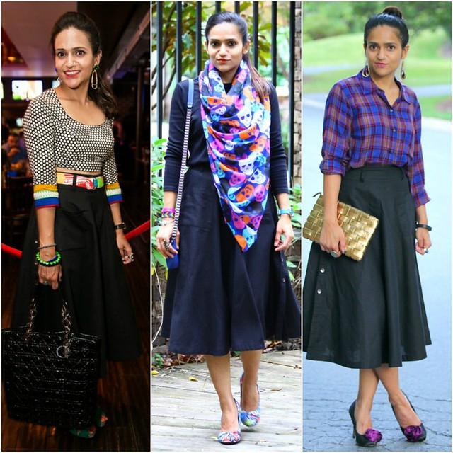 5b1c5fa097 Three Ways Thursday - Black Midi Skirt | Tanvii.com - Indian Fashion ...