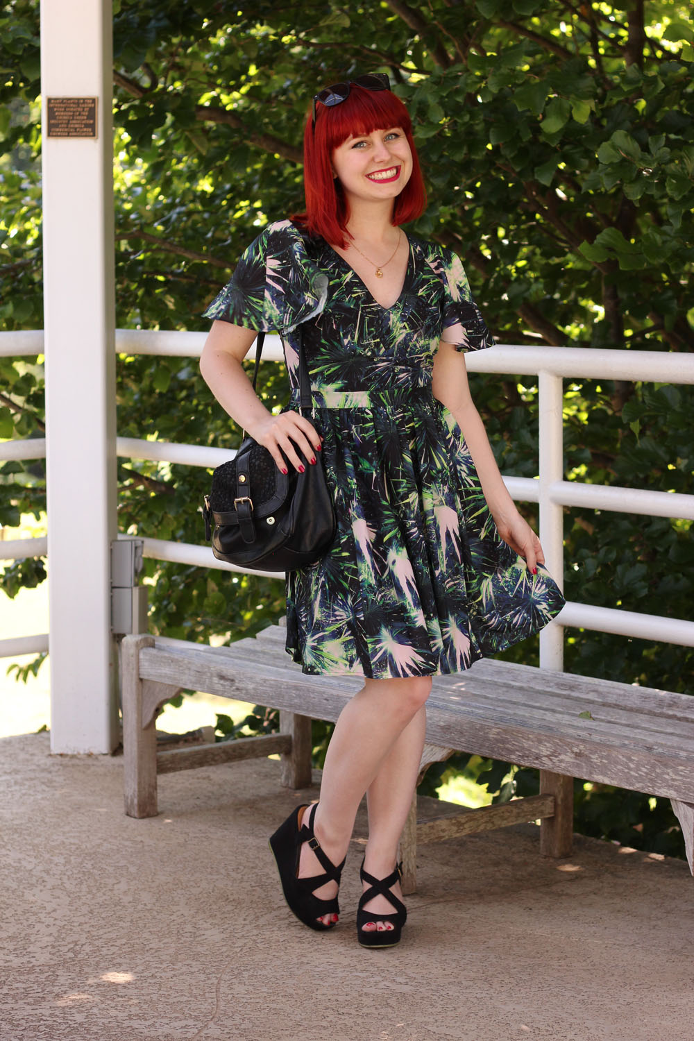 Wolf and Whistle Palm Print Chiffon Dress Black Wedges Bright Red Hair