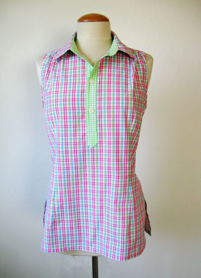 pink plaid placket top on form front