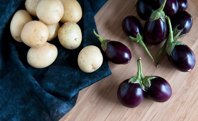 Small yellow potatoes and Indian eggplants
