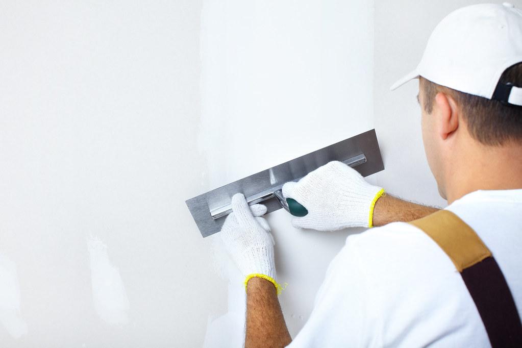 plasterer working
