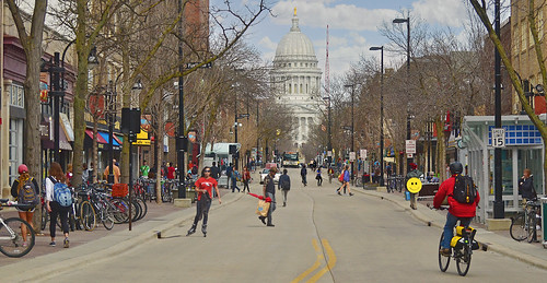 A spring day on State Street, Madison, WI, April 2013