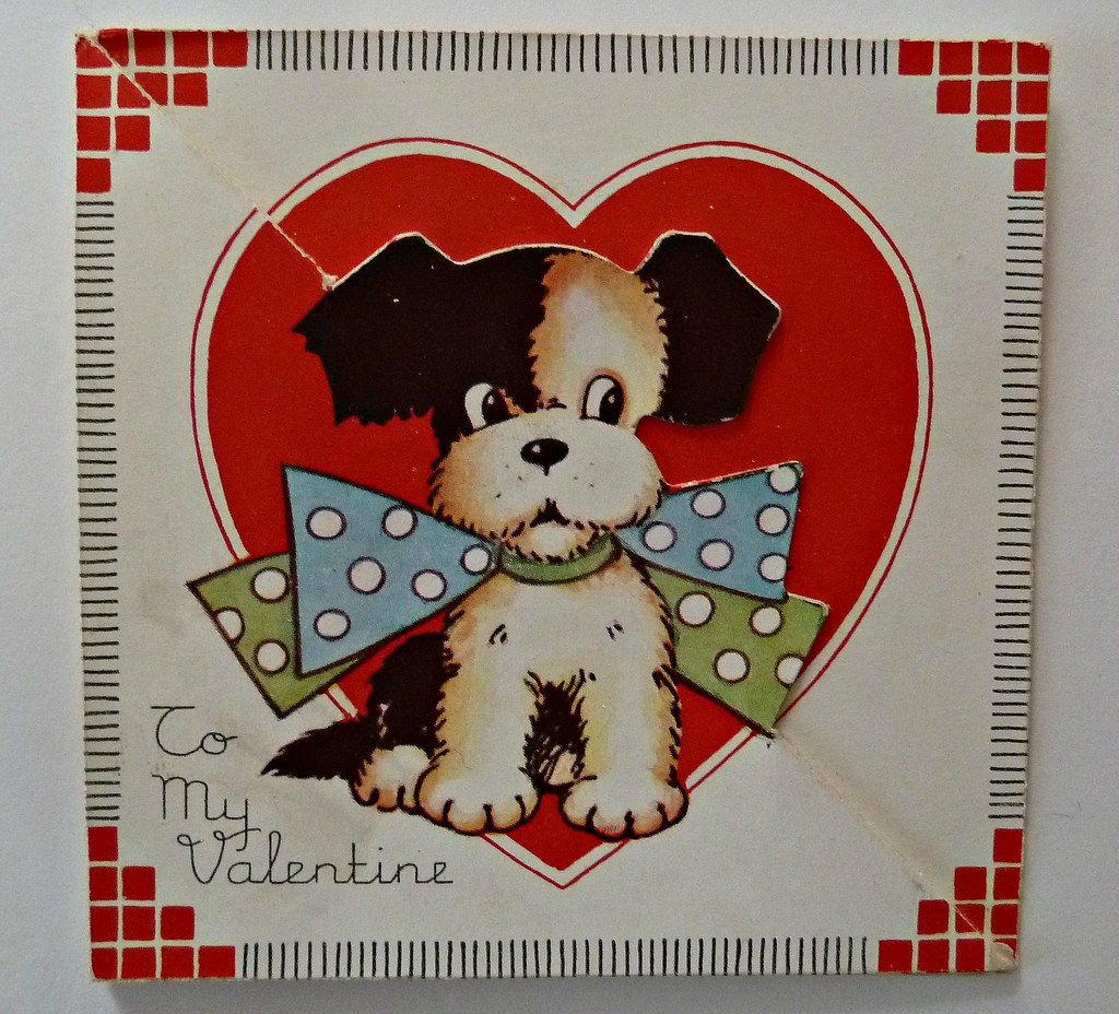 Vintage Valentine Card Dog With Polka Dot Bow Tie Flickr