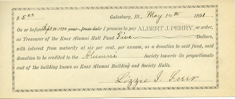 1891 Check to the Alumni Hall Fund