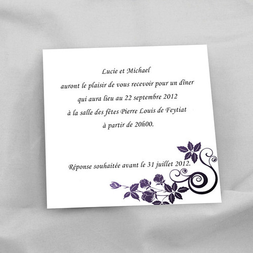 joyeuxmariage carte de reception faire part de mariage fleur violette ruban violet flickr. Black Bedroom Furniture Sets. Home Design Ideas