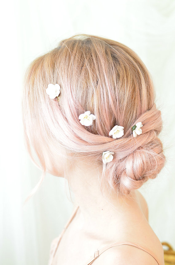 white flower clips  wedding hair pins  small floral bobby