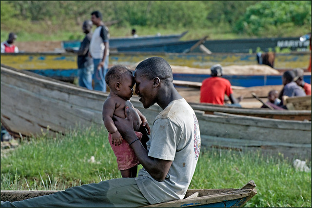 Father and child fishing on LakeVictoria