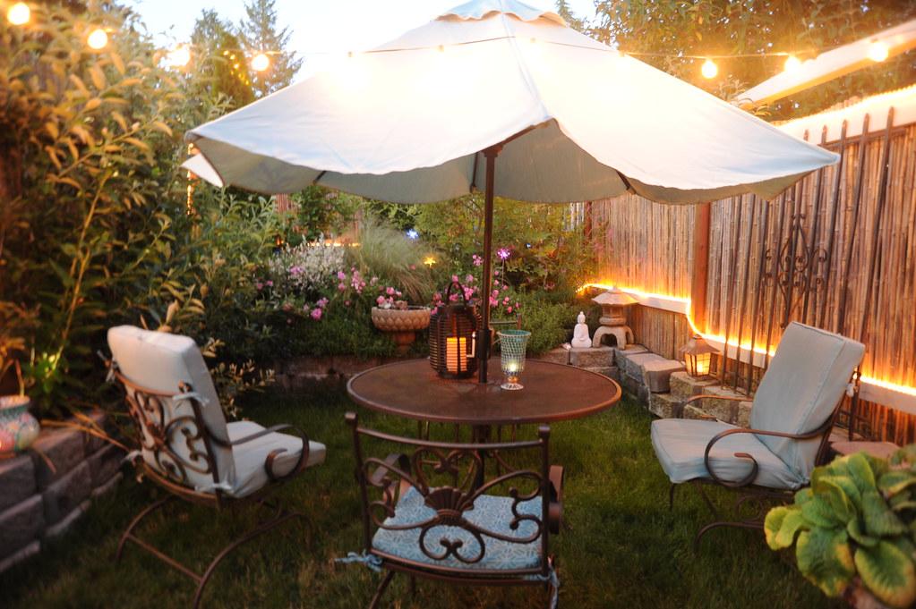 Night Lights, Patio Table, Chairs, Umbrella, White Statue U2026 | Flickr