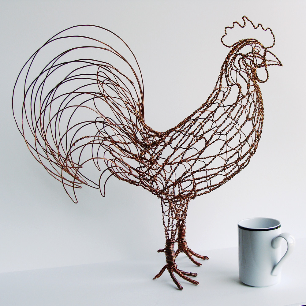 Rex the rooster wire sculpture right 14 gauge copper for How to make a wire sculpture