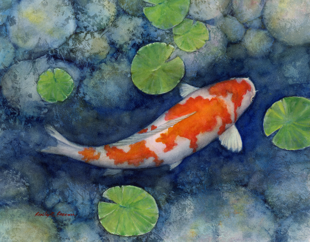 Koi pond a kohaku koi watercolor painting on fabriano for Koi fish pond help