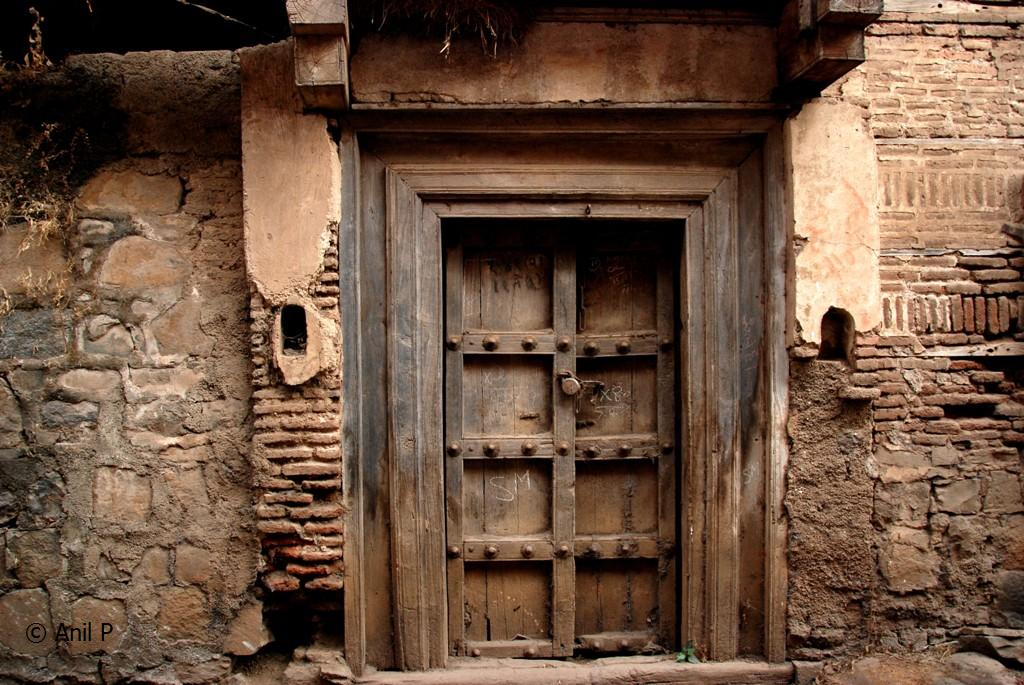 Old Indian Door Meandering In An Old Lane Among Brahmin