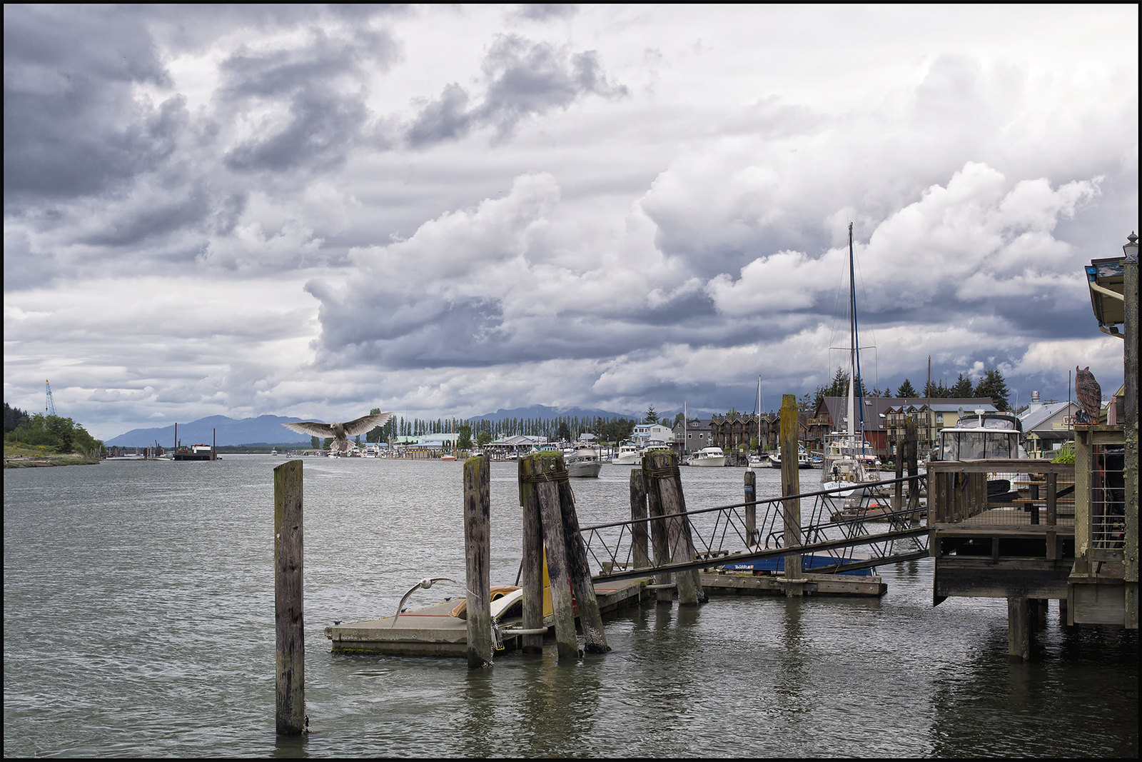 View of Swinomish Channel facing north in La Conner, WA