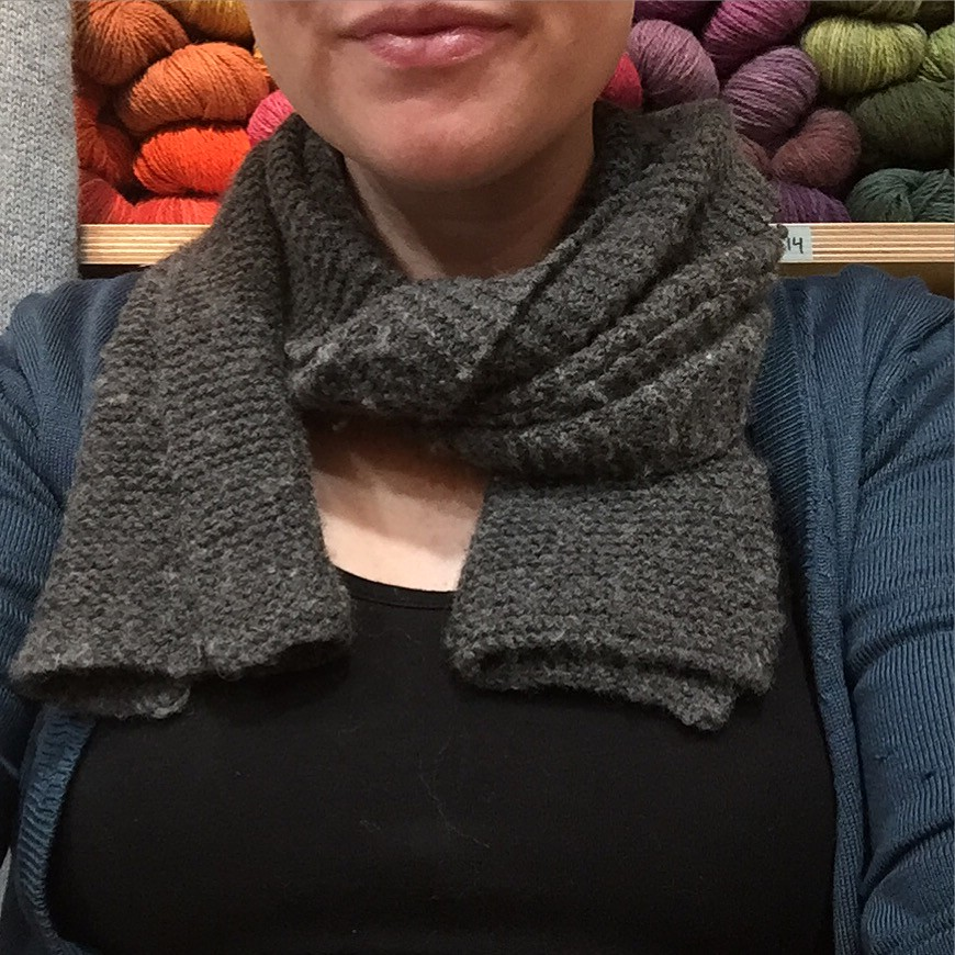 simple garter stitch scarf in charcoal cashmere yarn