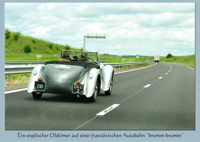 Oldtimer England englisch Autobahn Frankreich Aston Martin 1926 ??? Foto Brigitte Stolle Juni 2016