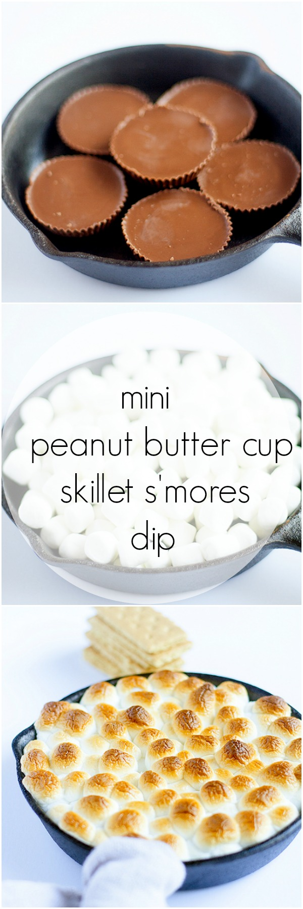 mini peanut butter cup skillet s'mores dip #shareit