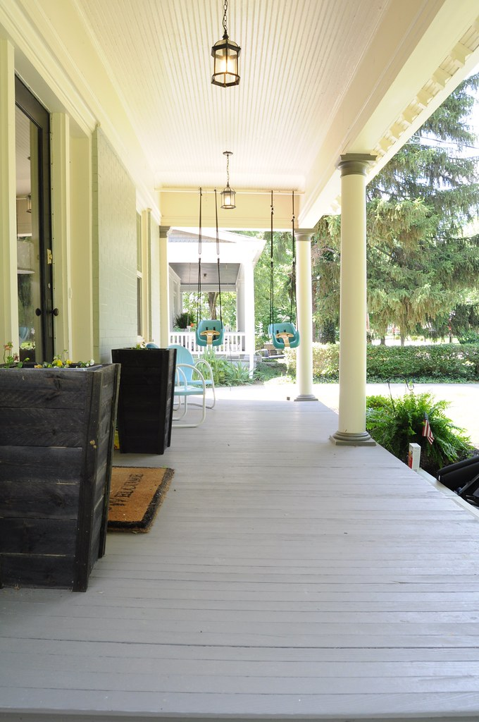 DIY Striped Front Porch
