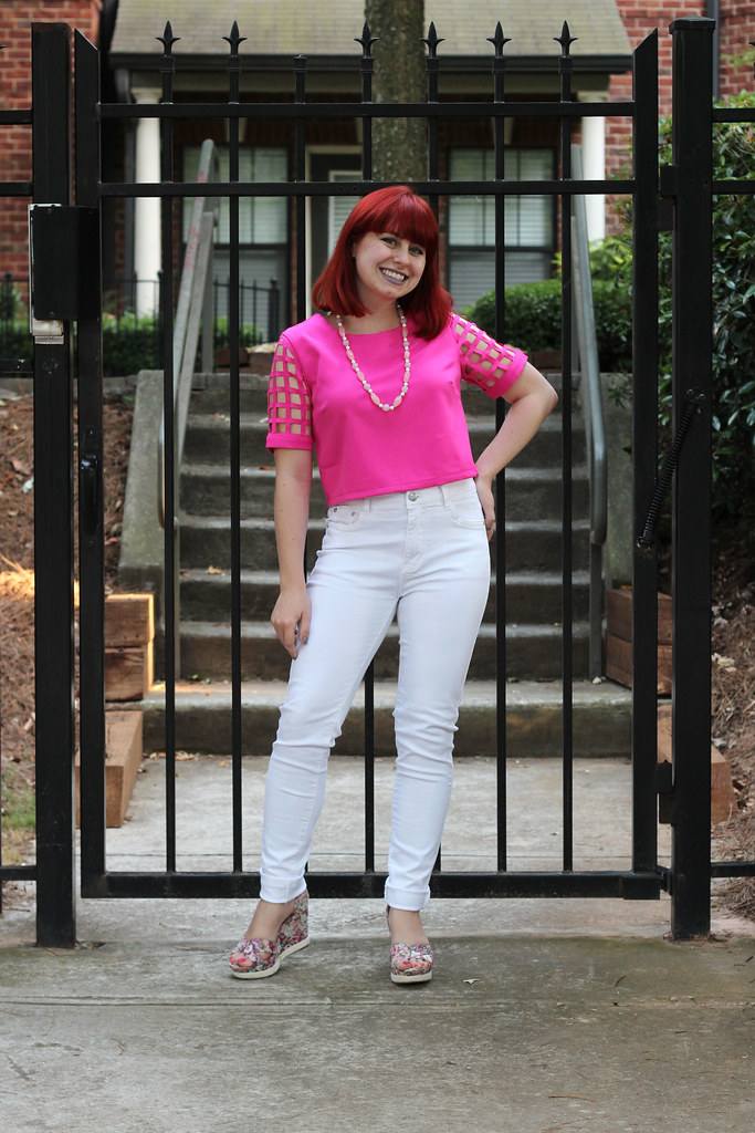 Hot pink crop top with square laser cut sleeves white skinny jeans outfit